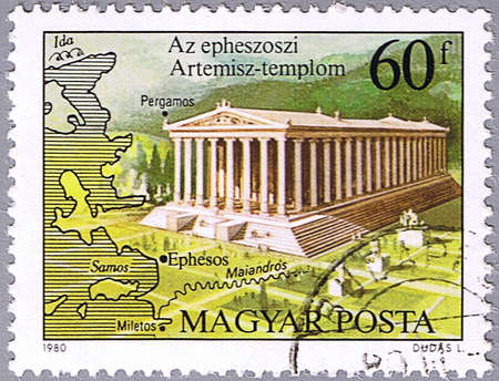 HUNGARY - CIRCA 1980: A stamp printed in Hungary shows the Temple of Artemis, Ephesus, 6th century B.C., series is devoted to the Seven Wonders of the Ancient World, circa 1980