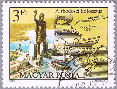 rhodes: HUNGARY - CIRCA 1980: A stamp printed in Hungary shows the Colossus of Rhodes, series is devoted to the Seven Wonders of the Ancient World, circa 1980