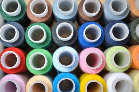 Multi-coloured threads for embroidery photo