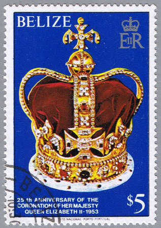 queen elizabeth: BELIZE - CIRCA 1979: A stamp printed in Belize shows the crown, a series dedicated to 25-th anniversary of the coronation of Her Majesty Queen Elizabeth II, circa 1979