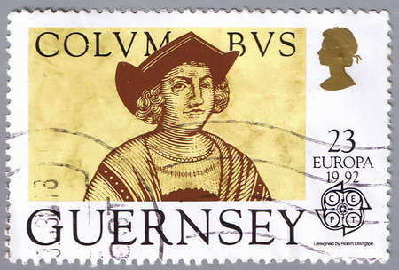 GUERNSEY - CIRCA 1992: A stamp printed in Guernsey shows a portrait of Columbus, series devoted to 500 anniversary of the discovery of America, circa 1992 photo