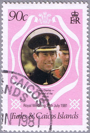 lady diana: TURKS AND CAICOS ISLANDS - CIRCA 1981: A stamp printed in Turks and Caicos Islands shows portrait of Prince Charles, series is devoted to the royal wedding of Prince Charles to Lady Diana Spencer, circa 1981