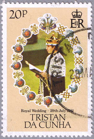 lady diana: TRISTAN DA CUNHA - CIRCA 1981: A stamp printed in Tristan da Cunha shows portrait of Prince Charles, series is devoted to the royal wedding of Prince Charles to Lady Diana Spencer, circa 1981