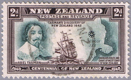 NEW ZEALAND - CIRCA 1940: A stamp printed in New Zealand shows portrait of Abel Tasman, series, circa 1940 Stock Photo - 10307686