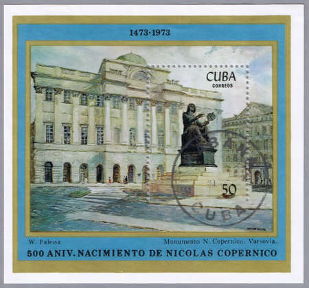astronomer: CUBA - CIRCA 1973: A stamp printed in Cuba shows image of Nicolaus Copernicus, the Polish astronomer, series, circa 1973