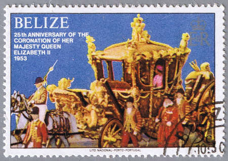 queen elizabeth ii: BELIZE - CIRCA 1979: A stamp printed in Belize shows the royal carriage, a series dedicated to 25-th anniversary of the coronation of Her Majesty Queen Elizabeth II, circa 1979