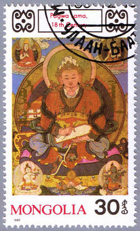 deities: MONGOLIA - CIRCA 1990: A stamp printed in Mongolia shows Pagwa Lama, series is devoted to Buddhist deities, circa 1990