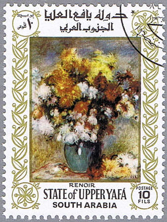 STATE OF UPPER YAFA - CIRCA 1967: A stamp printed in State of Upper Yafa shows painting of Pierre-Auguste Renoir - Vase of Chrysanthemums, series, circa 1967 Stock Photo - 10522381
