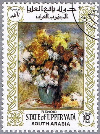 STATE OF UPPER YAFA - CIRCA 1967: A stamp printed in State of Upper Yafa shows painting of Pierre-Auguste Renoir - Vase of Chrysanthemums, series, circa 1967