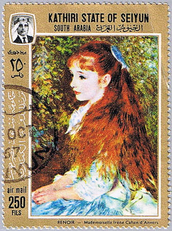 known: KATHIRI STATE OF SEIYUN - CIRCA 1967: A stamp printed in Kathiri State of Seiyun shows painting of Pierre-Auguste Renoir - Irene Cahen dAnvers (also known as Little Irene), series, circa 1967