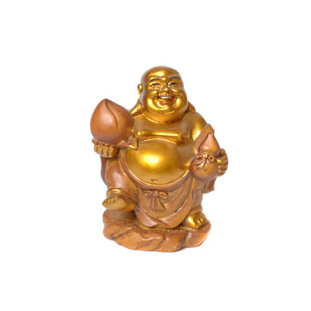 Statuette of a smiling golden Buddha