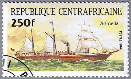 CENTRAL AFRICAN REPUBLIC - CIRCA 1984: A stamp printed in Central African Republic shows Admella, series is devoted to sailing vessels, circa 1984 Stock Photo - 10588073