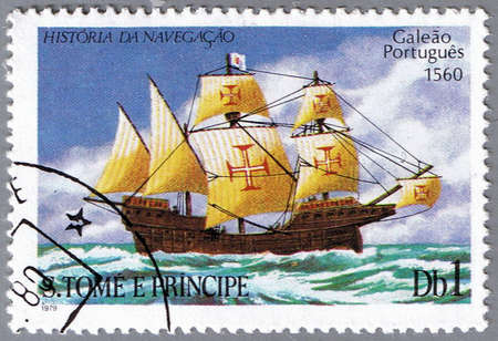 ST. THOMAS AND PRINCE ISLANDS - CIRCA 1979: A stamp printed in St. Thomas and Prince Islands shows Portuguese galleon, series is devoted to the history of navigation, circa 1979