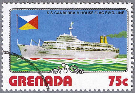 GRENADA - CIRCA 1976: A stamp printed in Grenada shows S.S. Canberra and P. O. Line flag, series is devoted to ships, circa 1976 photo