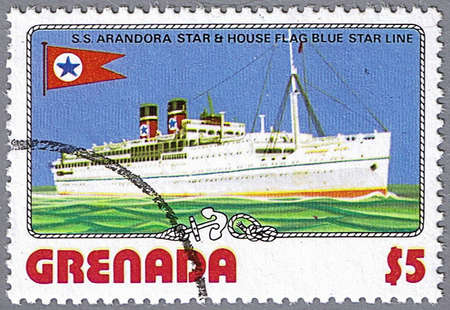 GRENADA - CIRCA 1976: A stamp printed in Grenada shows S.S. Arandora Star and Blue Star Line flag, series is devoted to ships, circa 1976