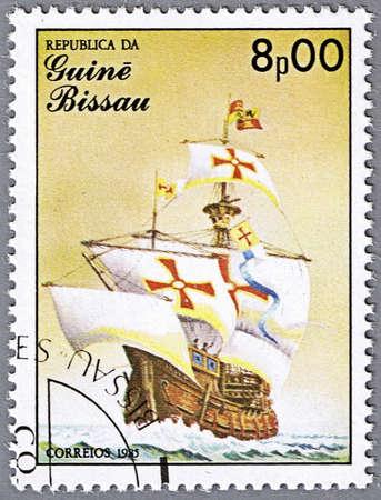 GUINEA-BISSAU - CIRCA 1985: A stamp printed in Guinea-Bissau shows Santa Maria, 15th century, Spain, series is devoted to sailing vessels, circa 1985 photo