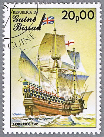 mayflower: GUINEA-BISSAU - CIRCA 1985: A stamp printed in Guinea-Bissau shows Mayflower, 17th century, Great Britain, series is devoted to sailing vessels, circa 1985