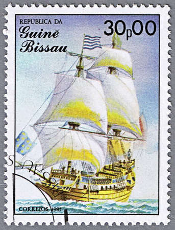 17th century: GUINEA-BISSAU - CIRCA 1985: A stamp printed in Guinea-Bissau shows St. Louis, 17th century, France, series is devoted to sailing vessels, circa 1985 Stock Photo