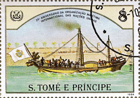 ST. THOMAS AND PRINCE ISLANDS - CIRCA 1984: A stamp printed in St. Thomas and Prince Islands shows steamship Elise, series is devoted to the history of navigation, circa 1984 photo