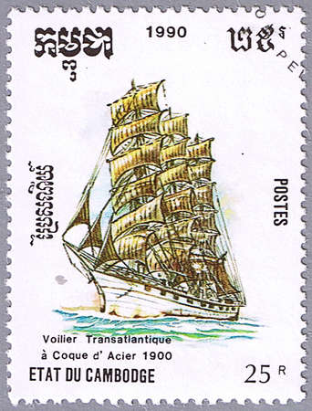 CAMBODIA - CIRCA 1990: A stamp printed in Cambodia shows transatlantic sailing ship, series is devoted to sailing vessels, circa 1990 Stock Photo - 10588061