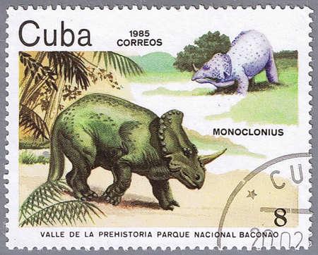 CUBA - CIRCA 1985: A stamp printed in Cuba shows Monoclonius, series devoted to prehistoric animals, circa 1985
