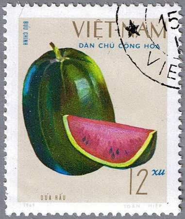 VIETNAM - CIRCA 1969: A stamp printed in Vietnam shows image of a watermelon, series, circa 1969 Stock Photo