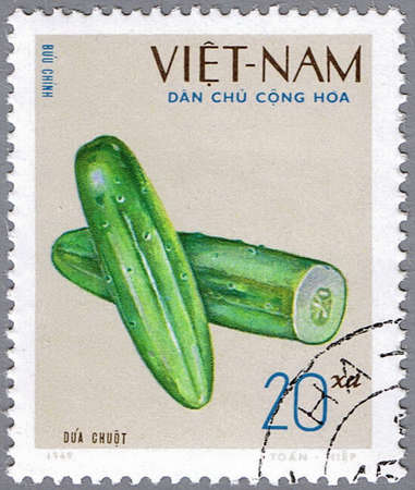 VIETNAM - CIRCA 1969: A stamp printed in Vietnam shows image of a cucumber, series, circa 1969 photo