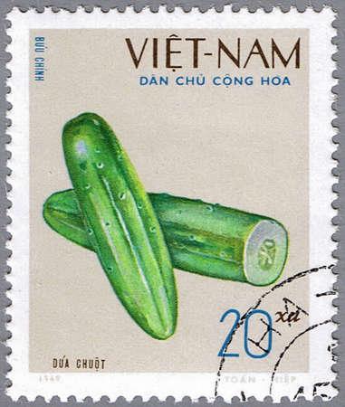 VIETNAM - CIRCA 1969: A stamp printed in Vietnam shows image of a cucumber, series, circa 1969 Stock Photo
