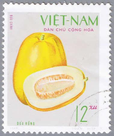 VIETNAM - CIRCA 1970s: A stamp printed by Vietnam shows image of a melon, circa 1970s photo