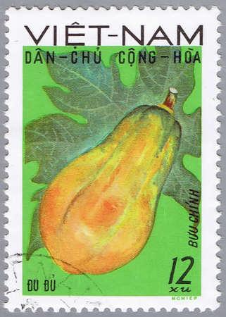 VIETNAM - CIRCA 1970s: A stamp printed by Vietnam shows image of a papaya, circa 1970s photo