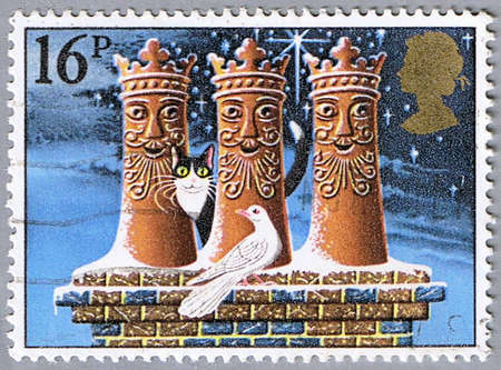 GREAT BRITAIN � CIRCA 1983: A stamp printed in Great Britain shows the three kings in the form of chimneys, series is devoted to Christmas, circa 1983 photo