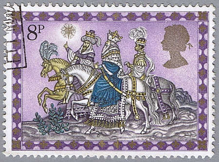 GREAT BRITAIN � CIRCA 1979: A stamp printed in Great Britain shows the three kings following the star, series is devoted to Christmas, circa 1979 photo