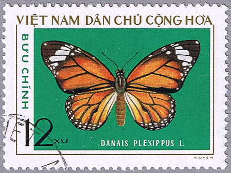 VIETNAM - CIRCA 1976: A stamp printed in Vietnam shows Danais plexippus, series devoted to butterflies, circa 1976