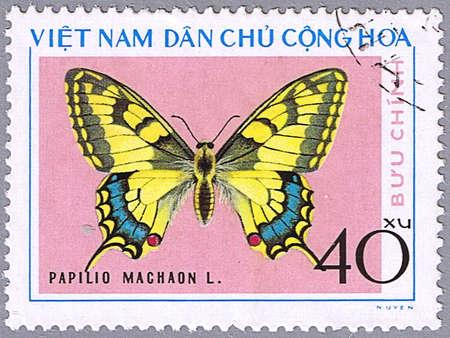 VIETNAM - CIRCA 1976: A stamp printed in Vietnam shows Papilio machaon, series devoted to butterflies, circa 1976 photo