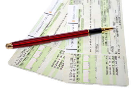 Airtickets and red pen photo