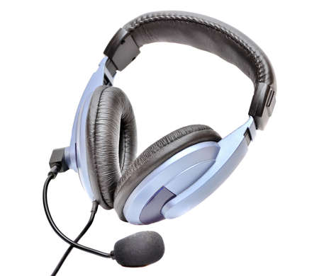 Blue headphones close-up Stock Photo