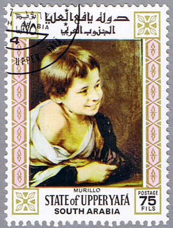 murillo: STATE OF UPPER YAFA - CIRCA 1967: A stamp printed in State of Upper Yafa shows painting of Bartolome Esteban Murillo - A Peasant Boy leaning on a Sill, series, circa 1967  Stock Photo