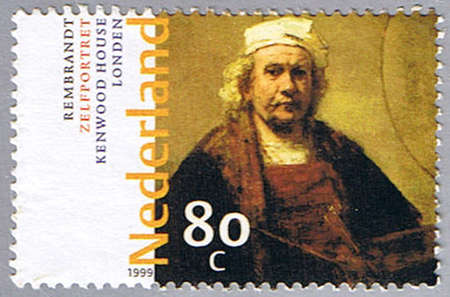 REMBRANDT: NETHERLANDS - CIRCA 1999: A stamp printed in Netherlands shows �Self-portrait� by Rembrandt, series, circa 1999 Stock Photo