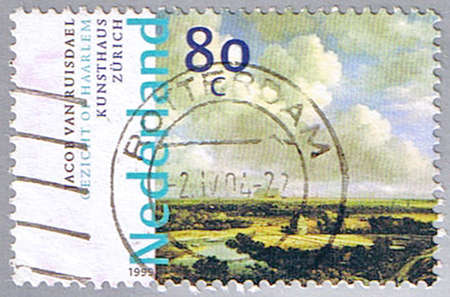 haarlem: NETHERLANDS - CIRCA 1999: A stamp printed in Netherlands shows «View of Haarlem» by Jacob van Ruisdael, series, circa 1999