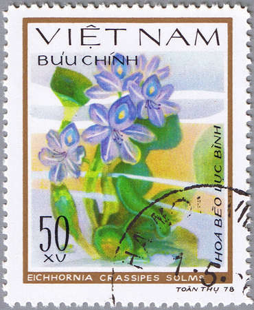 VIETNAM - CIRCA 1978: A stamp printed in Vietnam shows Eichhornia crassipes or water hyacinth, series, circa 1978 Stock Photo - 12256304