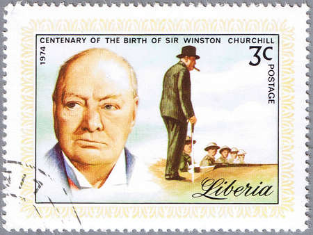LIBERIA - CIRCA 1974: stamp printed in Liberia shows Sir Winston Churchill, series is dedicated to the centenary of birth, circa 1974