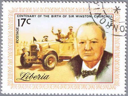 LIBERIA - CIRCA 1974: stamp printed in Liberia shows Sir Winston Churchill, series is dedicated to the centenary of birth, circa 1974 Stock Photo - 12256327