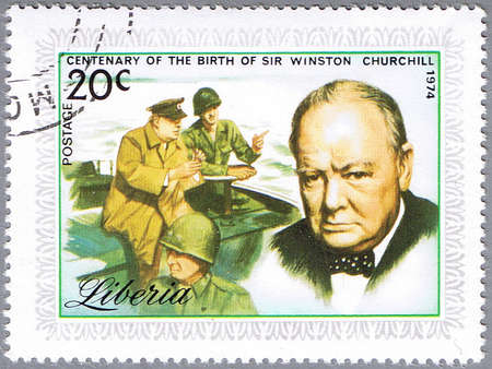 LIBERIA - CIRCA 1974: stamp printed in Liberia shows Sir Winston Churchill, series is dedicated to the centenary of birth, circa 1974 Stock Photo - 12256324