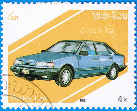 LAOS- CIRCA 1987: A stamp printed in Laos shows Vauxhall Cavalier Mark 3, series is devoted to cars, circa 1987