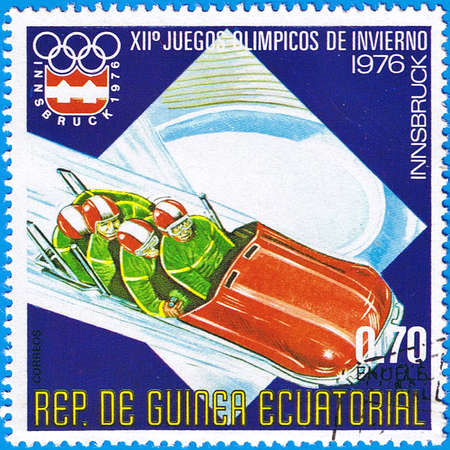 EQUATORIAL GUINEA - CIRCA 1976: A stamp printed in Equatorial Guinea shows bob, series devoted Olympic games in Innsbruck 1976, circa 1976