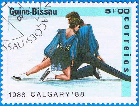 GUINEA-BISSAU - CIRCA 1988: A stamp printed in Guinea-Bissau shows ice dancing, circa 1988