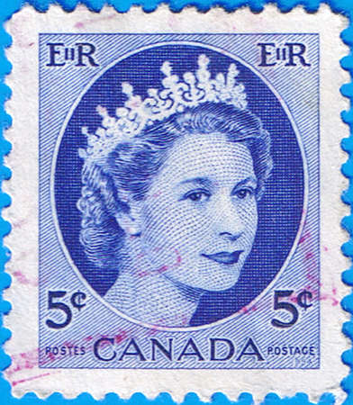 CANADA - CIRCA 1954: A stamp printed in Canada shows a portrait of Queen Elizabeth II, circa 1954