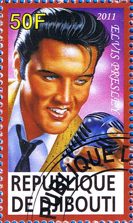 DJIBOUTI - CIRCA 2011: A postage stamp printed in the Republic of Djibouti showing an illustration of Elvis Presley holding a microphone, circa 2011
