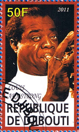 louis armstrong: DJIBOUTI - CIRCA 2011: A postage stamp printed in the Republic of Djibouti showing famous musician Louis Armstrong, circa 2011