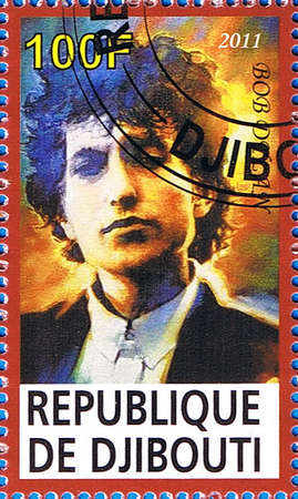 DJIBOUTI - CIRCA 2011: A postage stamp printed in the Republic of Djibouti showing Bob Dylan, circa 2011